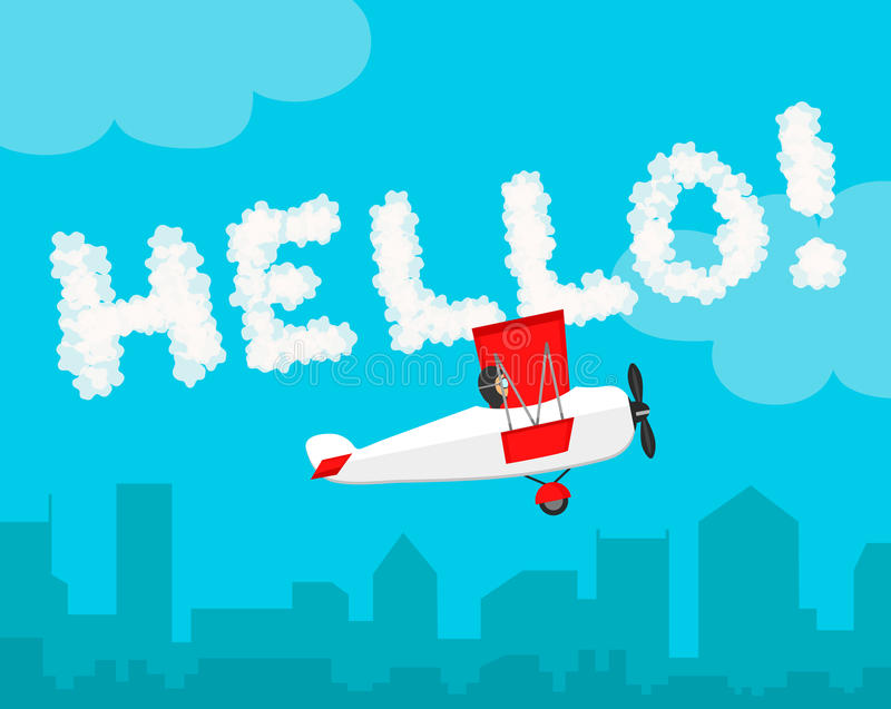 Inscription the sky Hello! cloud letter flat vector design. Airplane illustration royalty free illustration