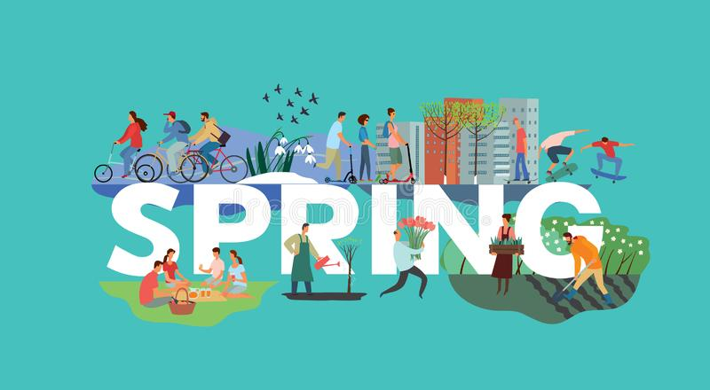The inscription Spring and various plots. People ride bicycles, guys ride skateboards, the family sits on a picnic, snowdrops grow. Vector full color hand stock illustration