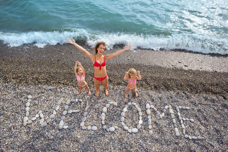 Download Inscription From Stones WELCOME At Coast, Family Stock Photography - Image: 13300982