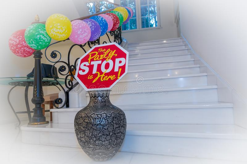 Stop, the party is here. royalty free stock photography