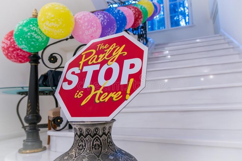 Stop, the party is here. royalty free stock image