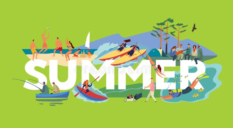 The inscription summer and various plots. Beach volleyball, catamaran rafting, fishing, hiking. Types of active summer activities of people around white vector illustration