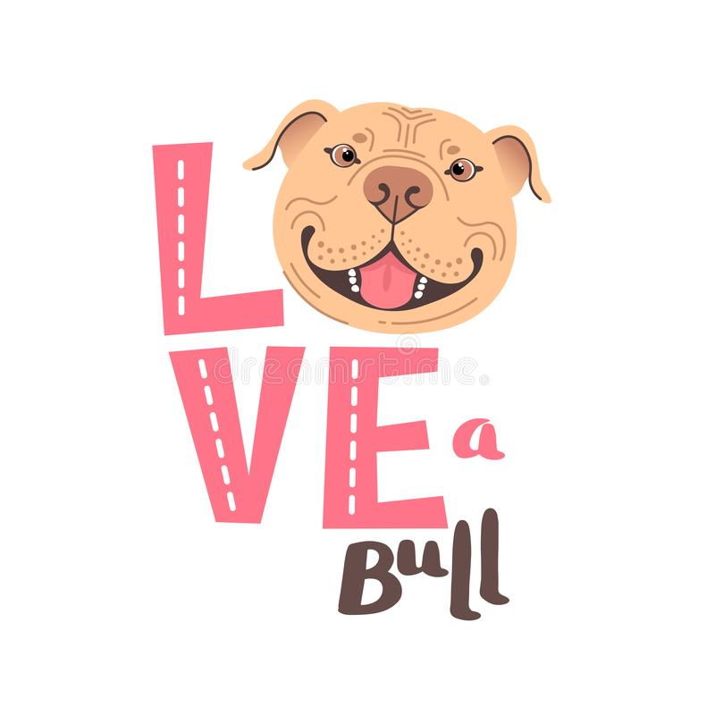 The inscription on the t-shirt of the owner of the dog Pitbull. Word LOVE with a American Staffordshire Pit Bull Terrier stock photos