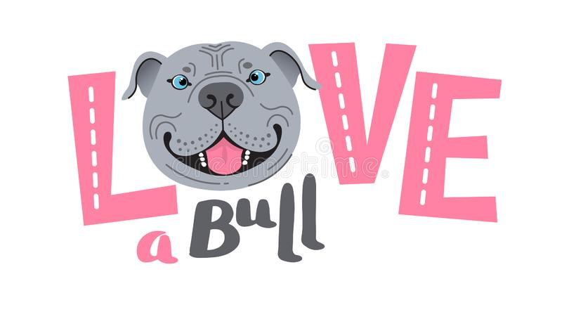 The inscription on the t-shirt of the owner of the dog Pitbull. Word LOVE with a American Staffordshire Pit Bull Terrier stock images
