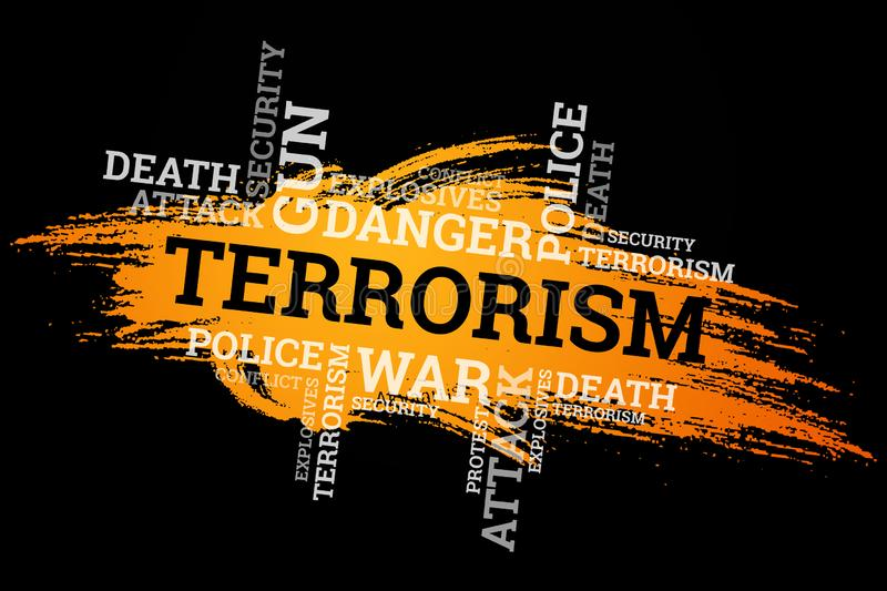 The inscription terrorism on a black background. The concept of stop terror, terrorist attack, explosions, attempted.  vector illustration