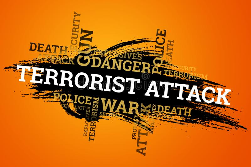 The inscription terrorism on a black background. The concept of stop terror, terrorist attack, explosions, attempted.  royalty free illustration