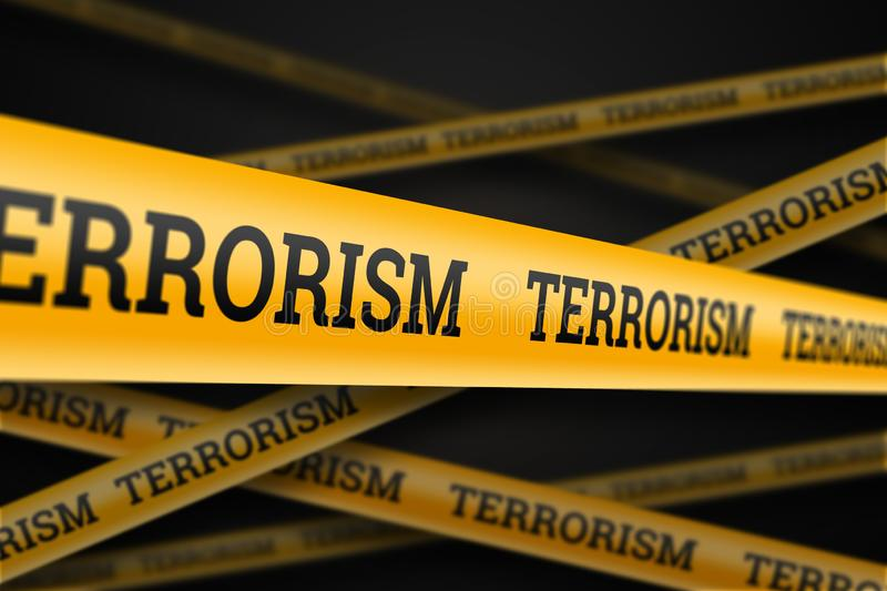Inscription terrorism on a yellow barrage on a black background. The concept of stop terror, terrorist attack, explosions,. Attempted stock illustration