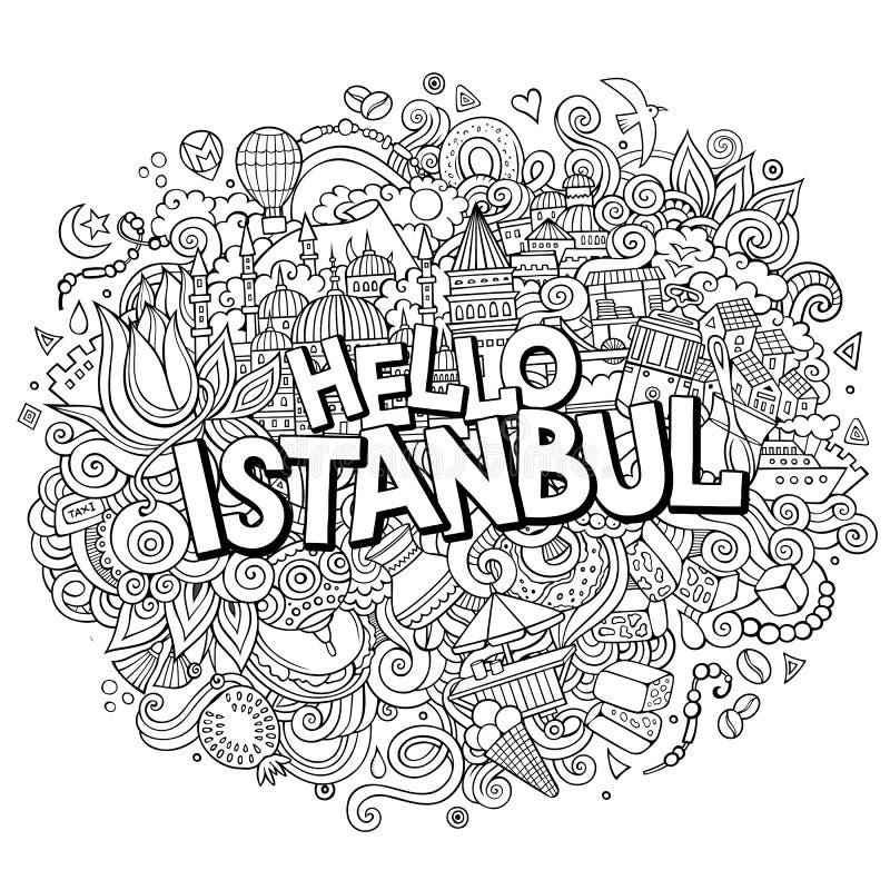 Inscription tirée par la main d'Istanbul de bonjour de griffonnages mignons de bande dessinée illustration stock