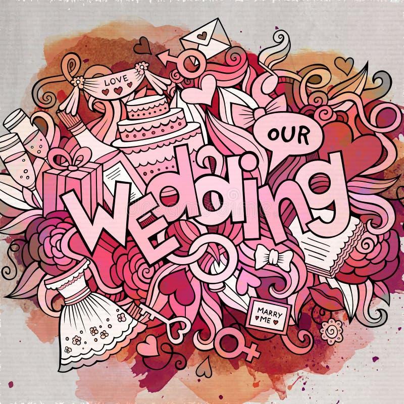 Inscription tirée par la main de mariage de griffonnages mignons de bande dessinée illustration libre de droits
