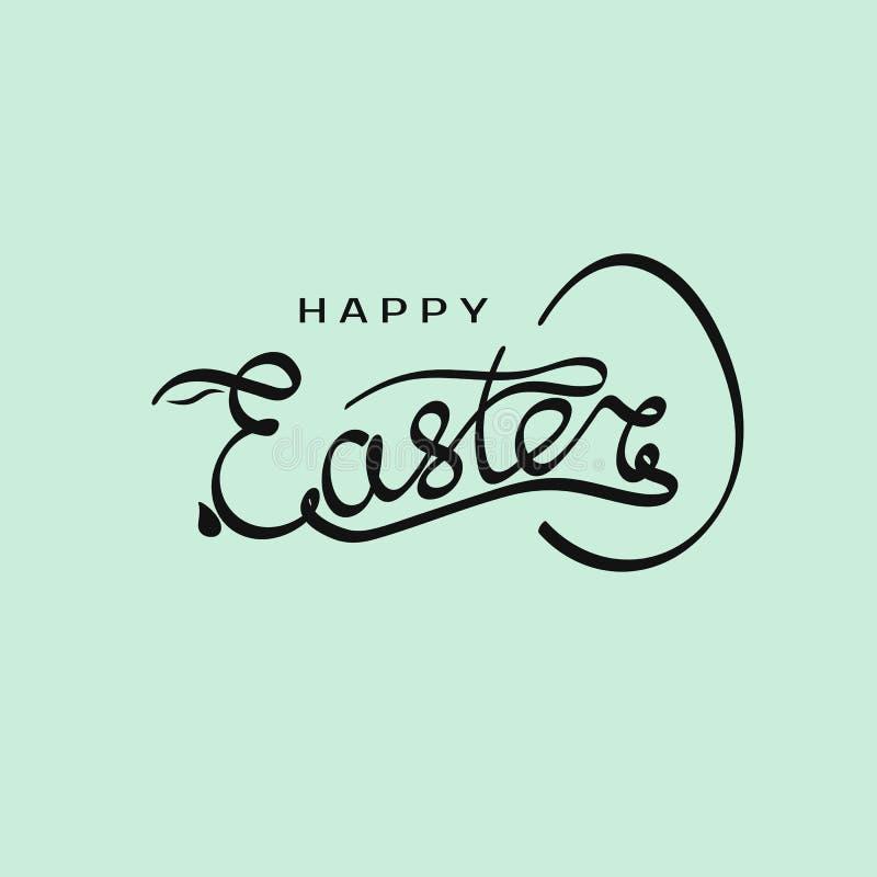 Inscription tirée par la main Joyeuses Pâques avec la silhouette de lapin dans la lettre E et le calibre d'oeufs Vecteur illustration stock