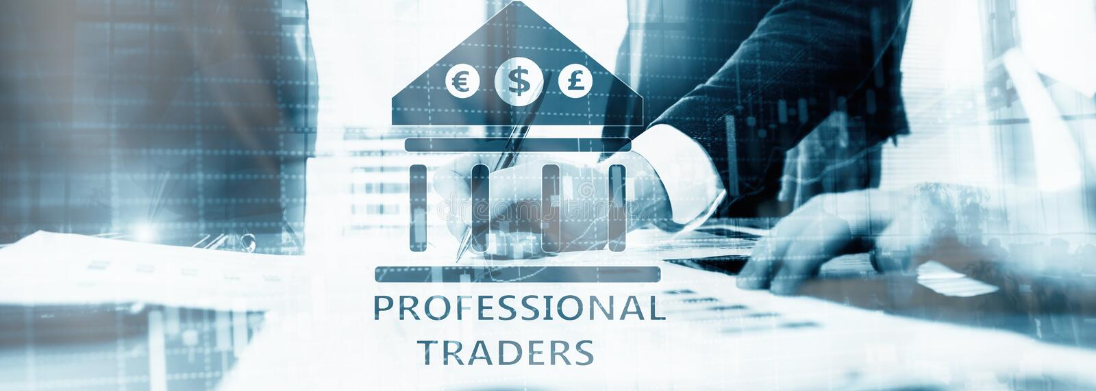 Inscription on the virtual screen: Professional Traders. Abstract Finance Background. Signing a contract stock photography