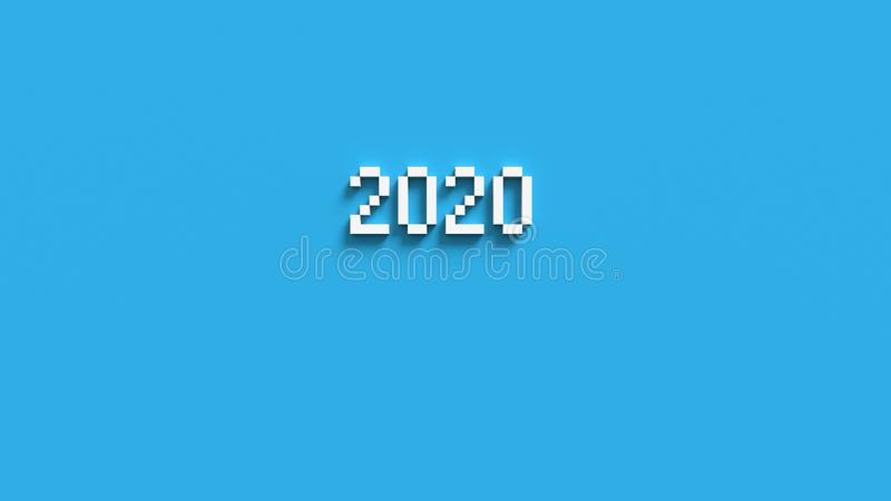 2020 the inscription voxel, pixels. 3D render. White numbers on a blue background. Theme new year, Christmas stock photo