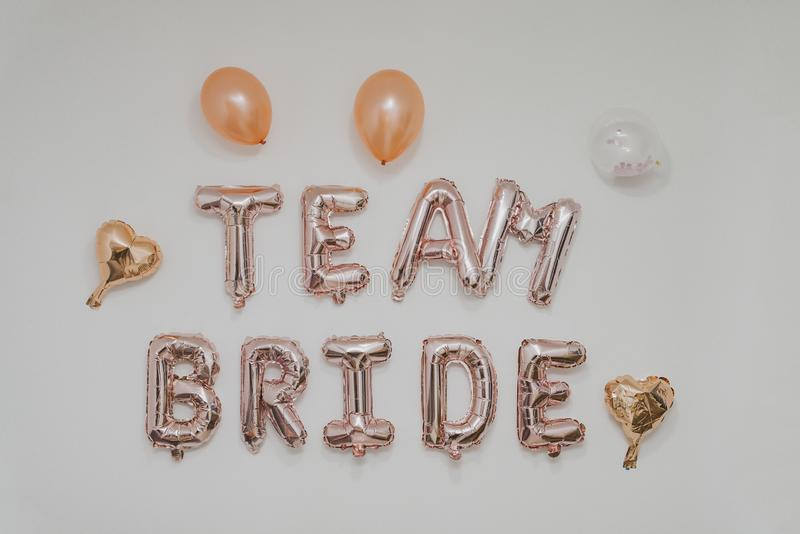 Inscription on the wall - team Bride, bachelorette party royalty free stock images