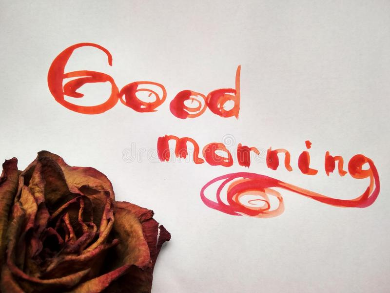 Inscription watercolor Good morning on white with objects. Good Morning red words on white background royalty free stock photo
