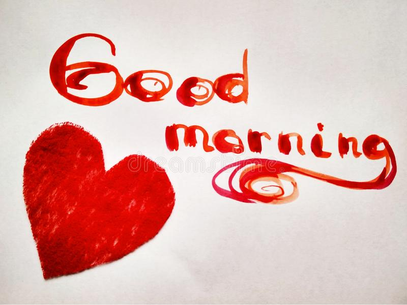 Inscription watercolor Good morning on white with objects. Good Morning red words on white background royalty free stock image
