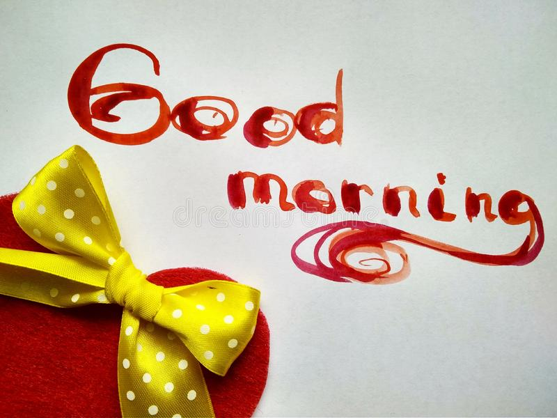 Inscription watercolor Good morning on white with objects. Good Morning red words on white background stock photos