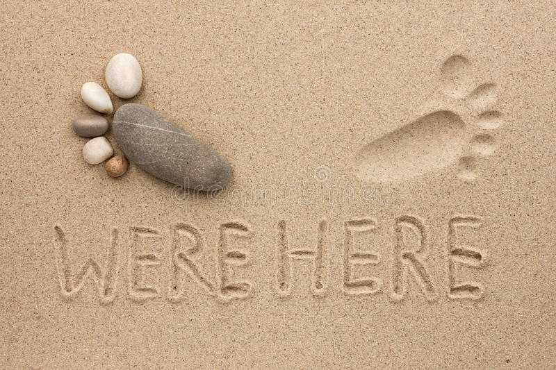 Download The inscription were here stock image. Image of footprint - 30540039