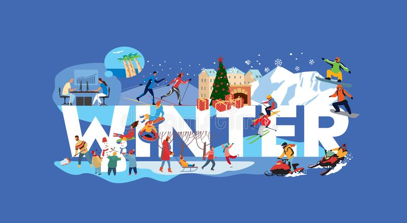 The inscription Winter and various plots. People skiing, making snowmen, snowmobiling, snowboarding from the mountains. Vector hand drawing vector illustration