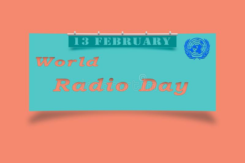 The inscription is world radio day, the international celebration of the UN royalty free illustration