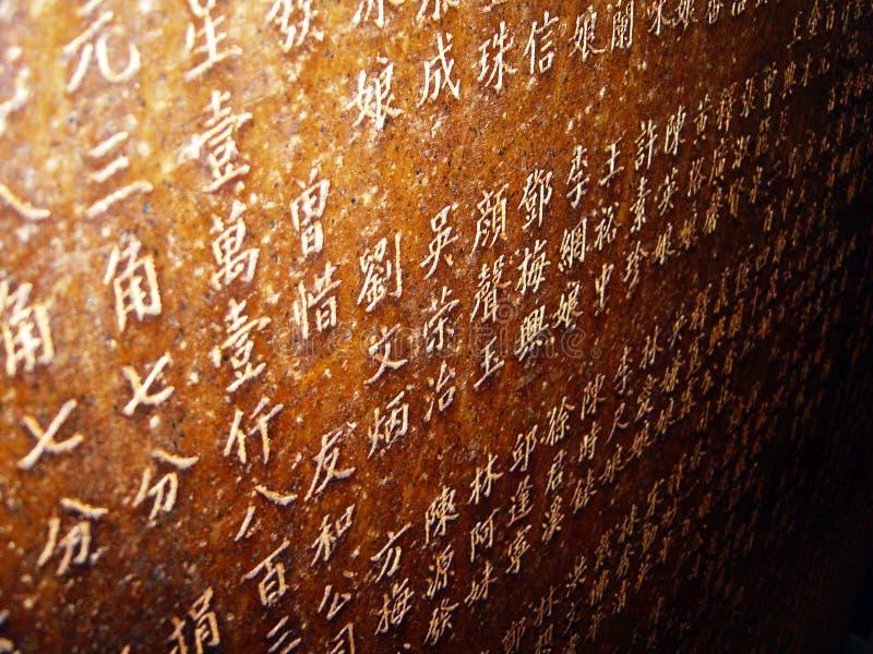Inscriptions chinoises dans la pierre photos libres de droits