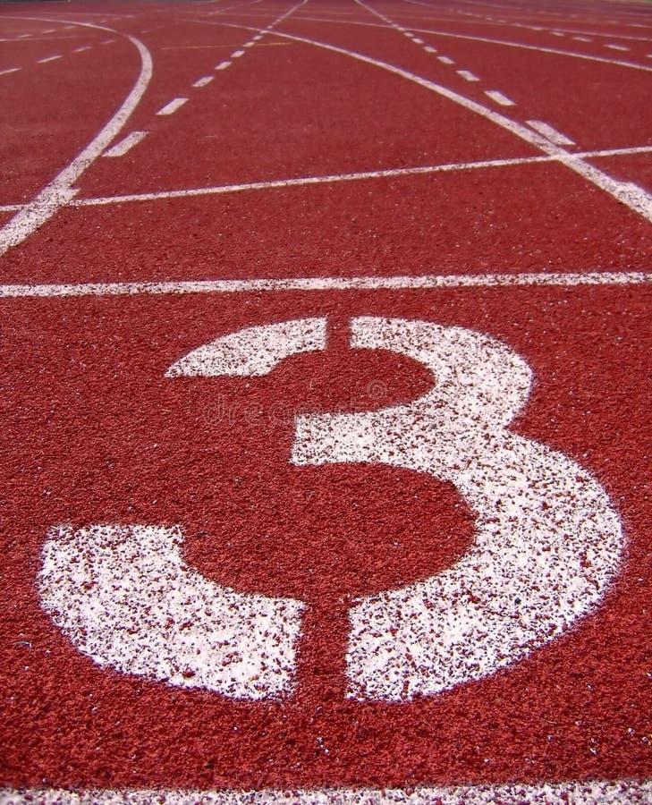 Inscriptions extérieures sportives -- Numéro trois photos libres de droits
