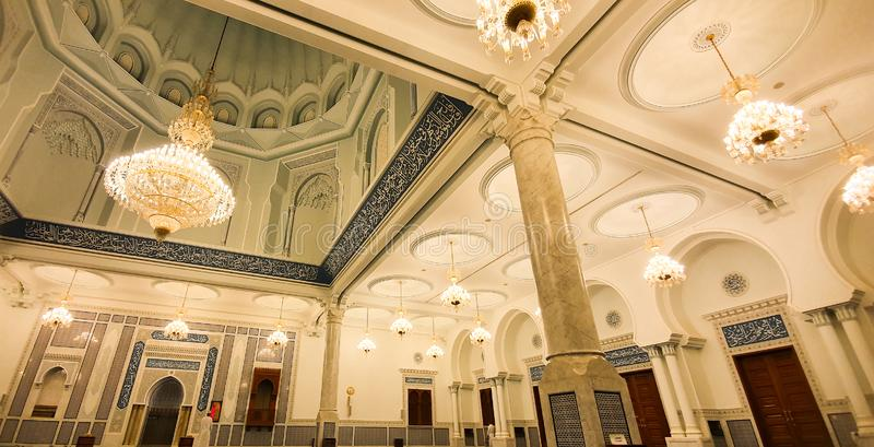 The inscriptions and the Islamic shrines at Sultan Qaboos Mosque in Bahala stock photo