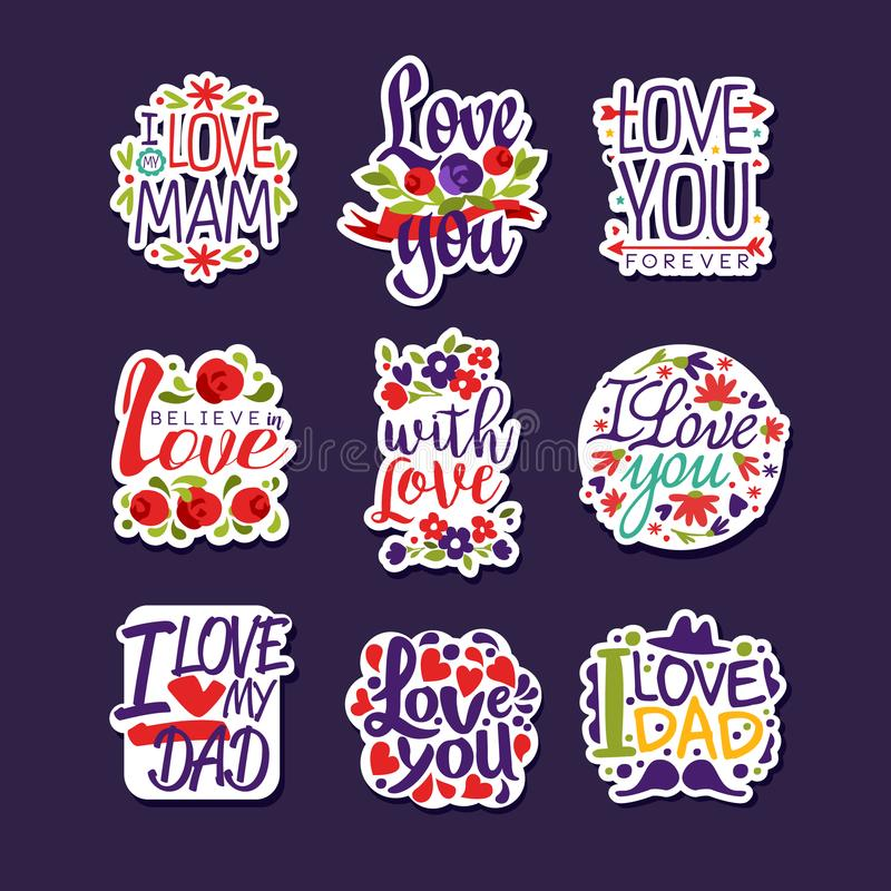 Inscriptions About Love Set Design Templates For Greeting Card
