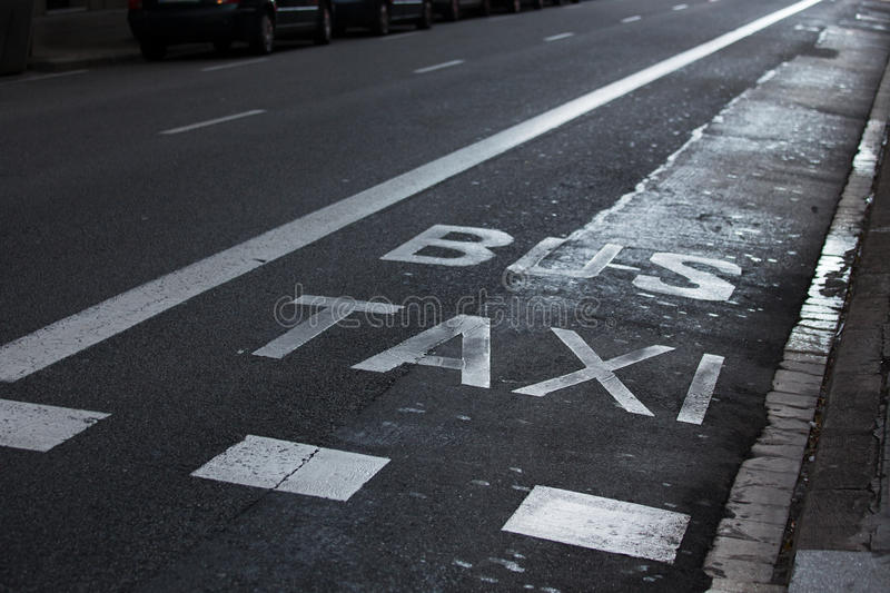 Download Inscriptions Taxi And Bus On The Roadway Stock Photo - Image: 39533717