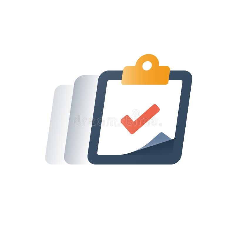 Inscrivez-vous dans le programme éducatif, presse-papiers de coche, essai complet, service rapide, forme de questionnaire, sondag illustration de vecteur