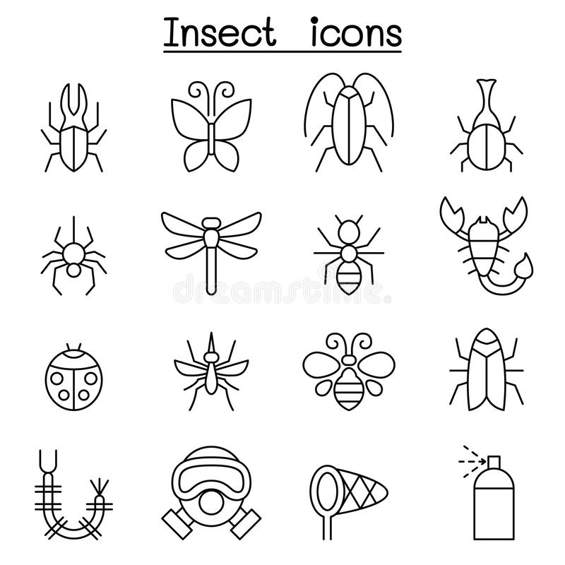 Insect & bug icon set in thin line style stock illustration