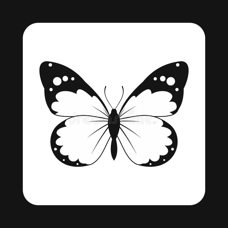 Insect butterfly with big wings icon, simple style. Insect butterfly with big wings icon in simple style isolated on white background. Fly symbol royalty free illustration