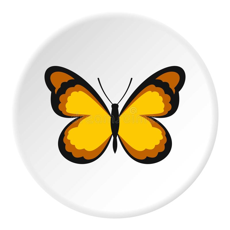 Insect butterfly with pattern on wings icon circle. Insect butterfly with pattern on wings icon in flat circle isolated vector illustration for web stock illustration