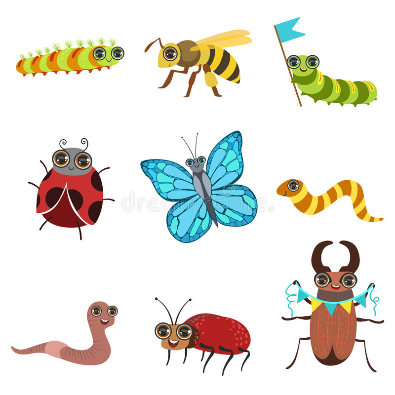 Insect Cartoon Images Set. In Cute Girly Style Flat Isolated Icons On White Background stock illustration
