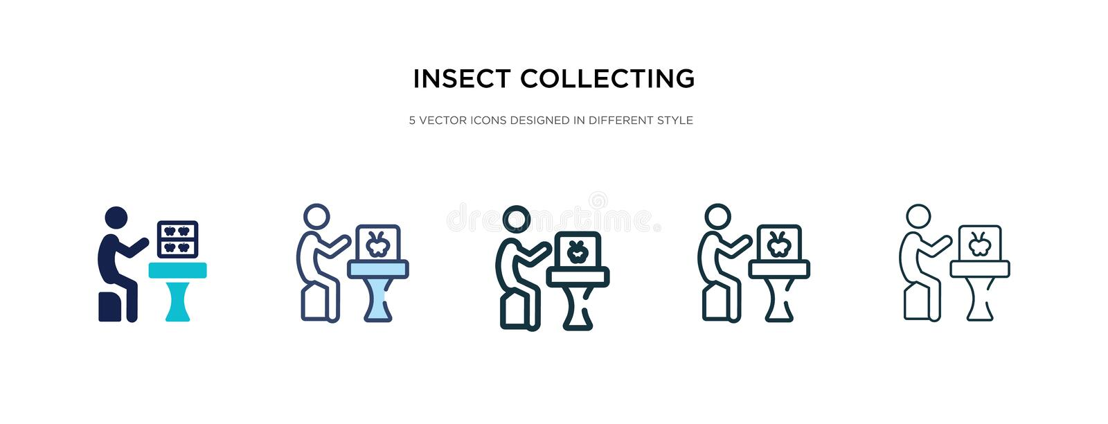 Insect collecting icon in different style vector illustration. two colored and black insect collecting vector icons designed in stock illustration