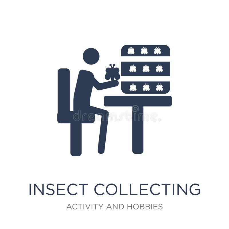 Insect collecting icon. Trendy flat vector Insect collecting icon on white background from Activity and Hobbies collection. Vector illustration can be use for royalty free illustration