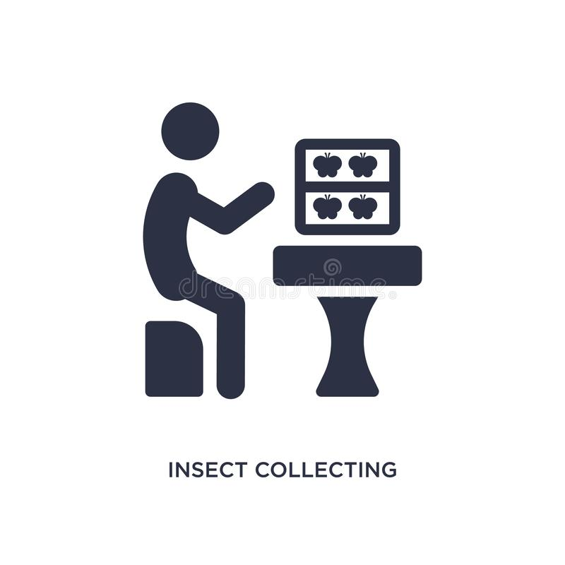 Insect collecting icon on white background. Simple element illustration from activity and hobbies concept. Insect collecting icon. Simple element illustration stock illustration
