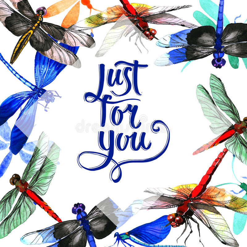 Insect dragonfly frame in a watercolor style isolated. stock illustration