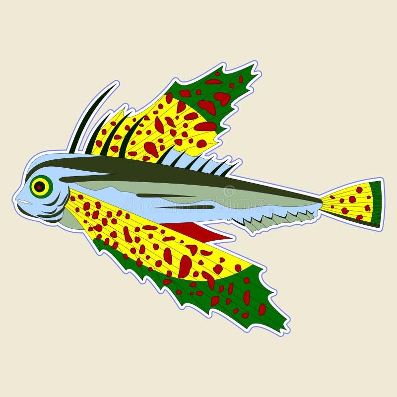 Insect-eyed monstervissen met grote geelgroene vinnen royalty-vrije illustratie