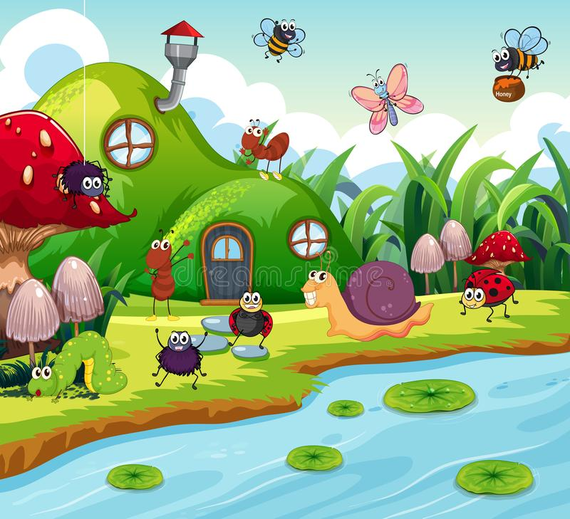 Insect in the fairy house vector illustration