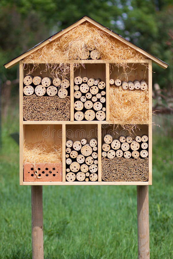 Insect Hotel. For honey bees and bumblebees in the forest stock photos