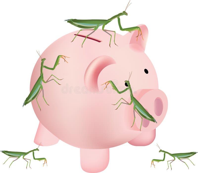 Insect invertebrate mantis religiosa above saving piggy bank.  vector illustration