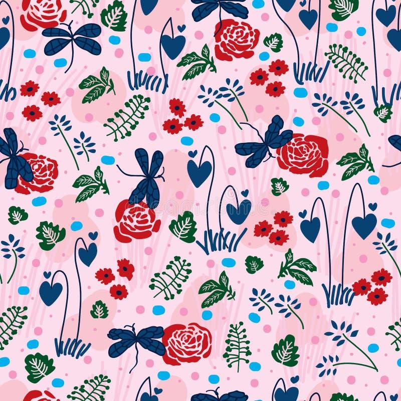 Insect love rose bleeding heart seamless pattern vector illustration