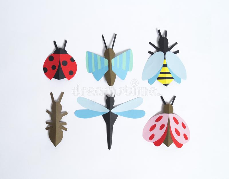 The insect is made of paper. Children`s creativity. royalty free stock photos
