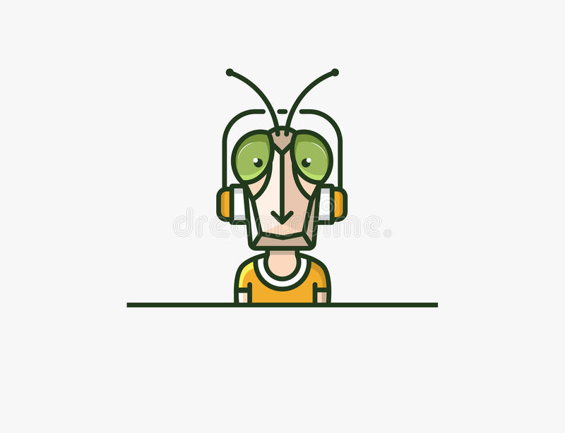 Insect mascot. Headphones character. Locust man. EPS 10 vector file vector illustration