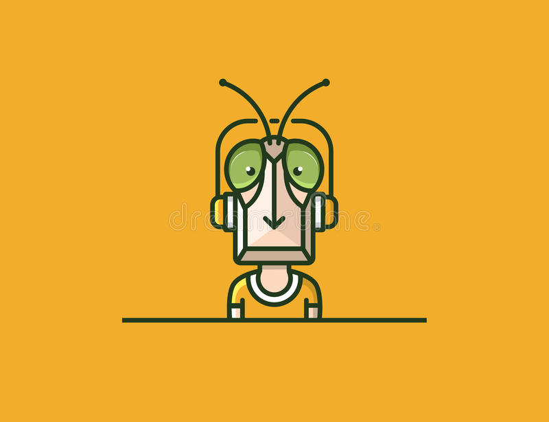 Insect mascot. Headphones character. Locust man. EPS 10 vector file royalty free illustration