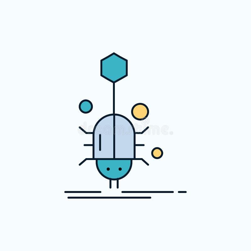 Insect, insect, spin, virus, Web Vlak Pictogram groene en Gele teken en symbolen voor website en Mobiele appliation Vector vector illustratie