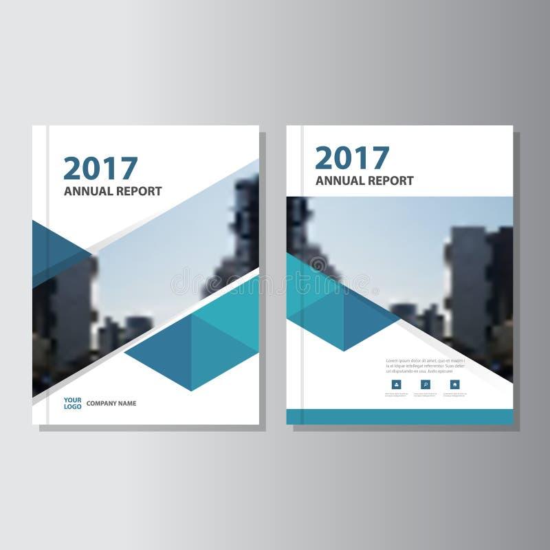 Insecte bleu de brochure de tract de rapport annuel de vecteur de triangle illustration libre de droits