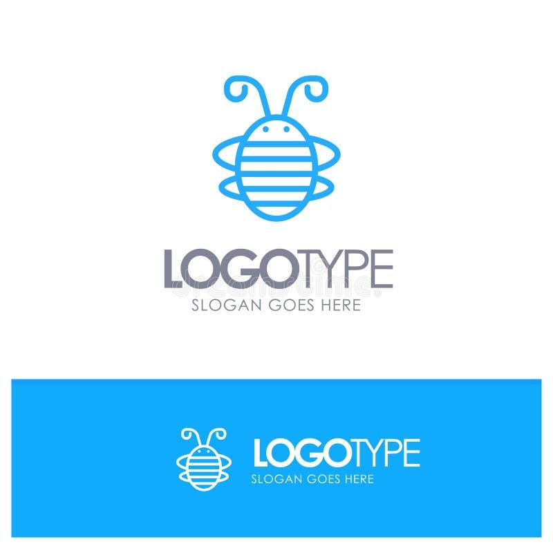 Insecte d'abeille, scarabée, insecte, Ladybird, logo bleu d'ensemble de coccinelle avec l'endroit pour le tagline illustration libre de droits