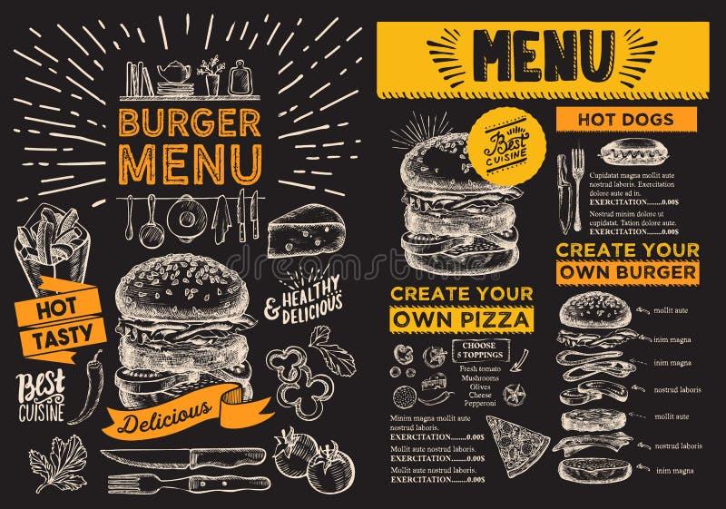 Insecte d'hamburger pour le restaurant Menu de nourriture de vecteur pour la barre et le café illustration libre de droits