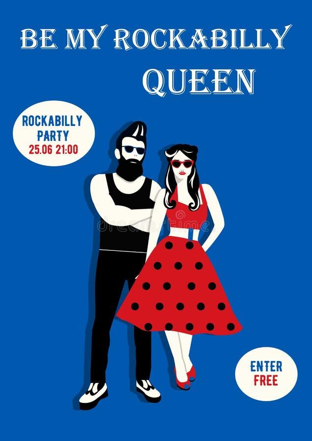 Insecte d'invitation avec des couples de rockabilly Affiche de rockabilly photos libres de droits